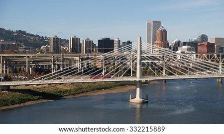 Tilikum Crossing Portland Oregon New Bridge Construction Willamette River - stock photo