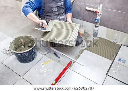 Tiling Floor Wall Tiler Builder Arranges Stock Photo 100 Legal
