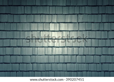 Tiling roof with windows made of wood, texture. Toned - stock photo
