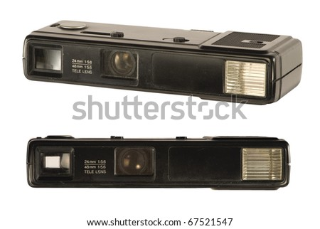 Tilt and front view of an old point and shoot 135mm film camera. Isolated over white background. Both clipping paths are included and separated. - stock photo