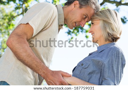 Tilt image of romantic couple looking at each other in park - stock photo