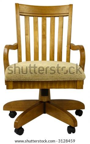 Tilt Swivel Oak Office Chair - stock photo