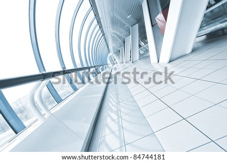 tilt view to details of contemporary airport interior - stock photo