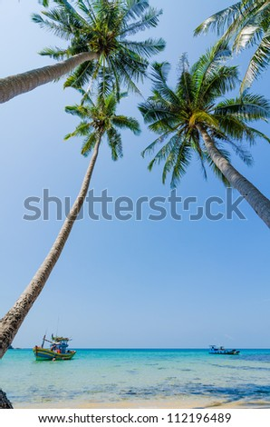 Tilted coconut trees by the beach with the boat and blue sky, Nam Du Islands, Kien Giang, Vietnam - stock photo