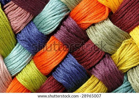 tilted cross yarn - stock photo