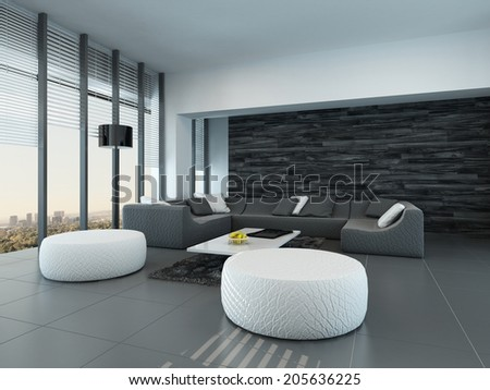 Tilted perspective of a modern grey and white living room interior with ottomans and a large settee in front of floor-to-ceiling glass windows letting in lots of daylight - stock photo