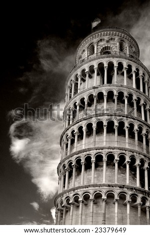 tilted tower of pisa - stock photo