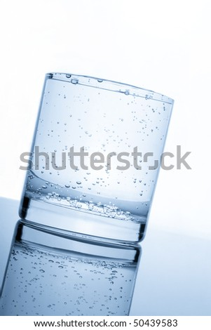 tilting full glass of water