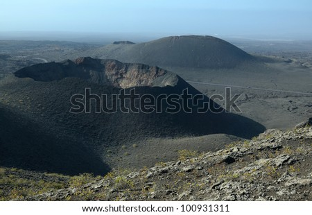 Timanfaya crater - stock photo