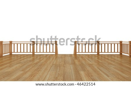 Timber deck isolated on white background - stock photo