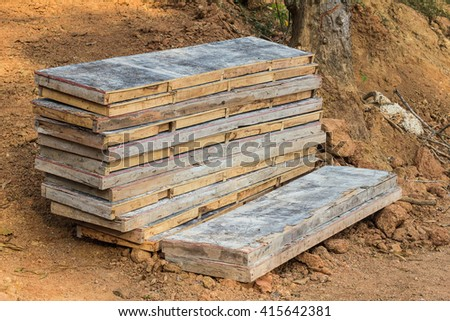 Timber form work under construction site - stock photo