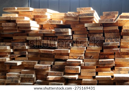 Timber on construction site - stock photo