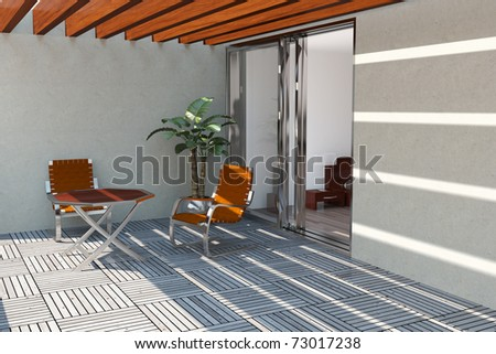 Timber pool deck on modern home terrace - stock photo