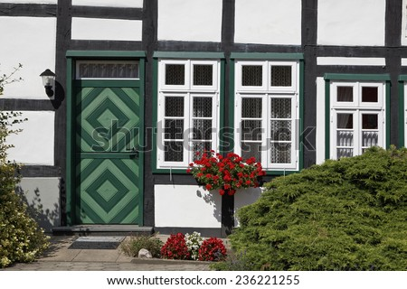 Timbered house in Lower Saxony, Osnabrueck country, Lower Saxony, Germany, Europe - stock photo