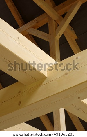 timbered house interior detail - stock photo