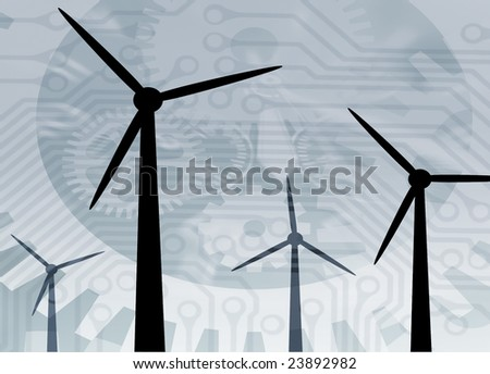 Time abstract overlaid over simulated wind turbines - stock photo