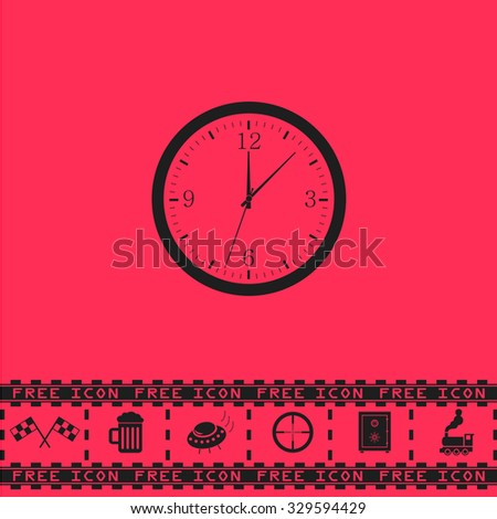Time and Clock. Black flat illustration pictogram and bonus icon - Racing flag, Beer mug, Ufo fly, Sniper sight, Safe, Train on pink background