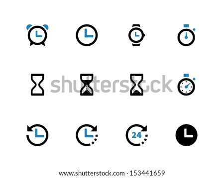 Time and Clock duotone icons on white background. See also vector version.