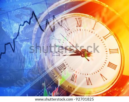 Time and finance graph. Finance concept. - stock photo