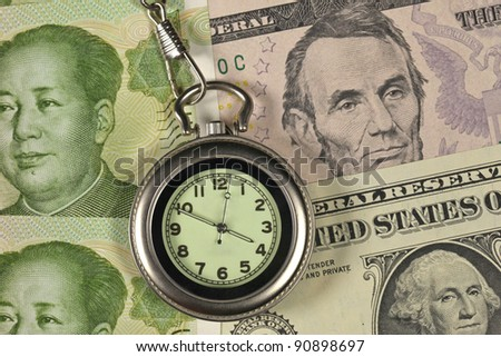 Time and money concept image ( pocket watch and Dollar USA vs RM - stock photo