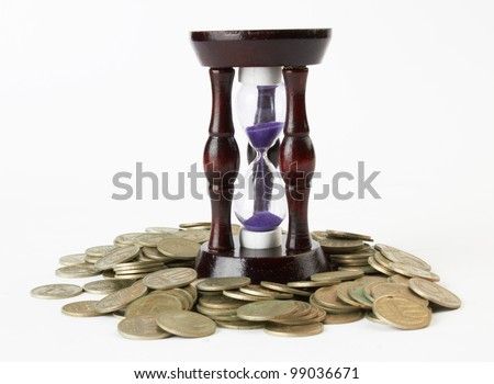 Time and money concept on white - stock photo