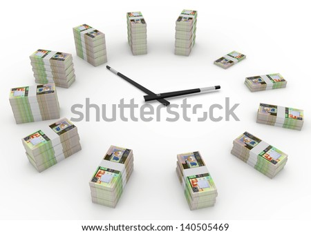 Time and money, 3D kuwait money shaped as clock isolated on white background - stock photo