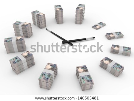 Time and money, 3D Qatar money shaped as clock isolated on white background - stock photo