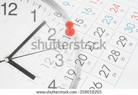 Time and planning concept, collage with clock and calendar page with push pin