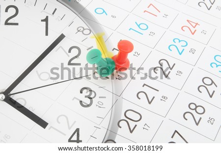 Time and planning concept, collage with clock and calendar page with push pins - stock photo
