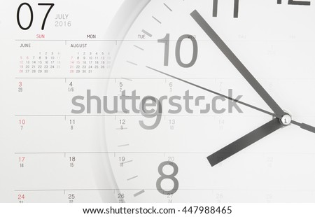 Time and planning concept, collage with round clock and calendar page