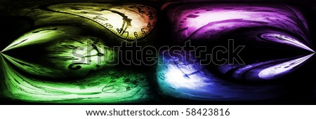 Time background made of colored clocks