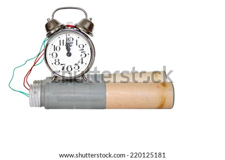 time bomb connected to the alarm clock, isolated on white - stock photo