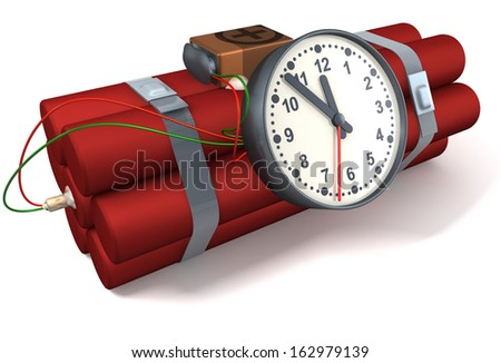 Time bomb made up of dynamite, clock, battery, 3d rendering isolated on white background - stock photo