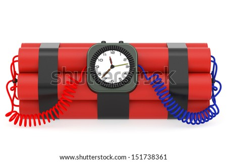 Time bomb with dynamite and clock detonator on white background. High resolution 3D image rendered with soft shadows - stock photo