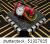time bomb with dynamite and timer on the computer chip - stock photo