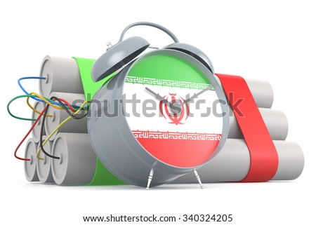 Time Bomb with Iranian Flag. 3D Rendering - stock photo