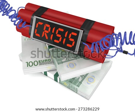 time bomb with stacks of banknotes, concept of economic crisis (3d render) - stock photo