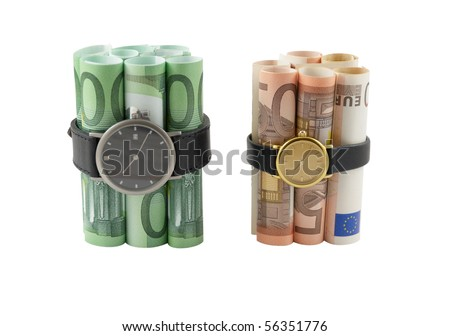 Time bombs concept. Bombs made from fifty and one hundred euro banknotes, over white - stock photo