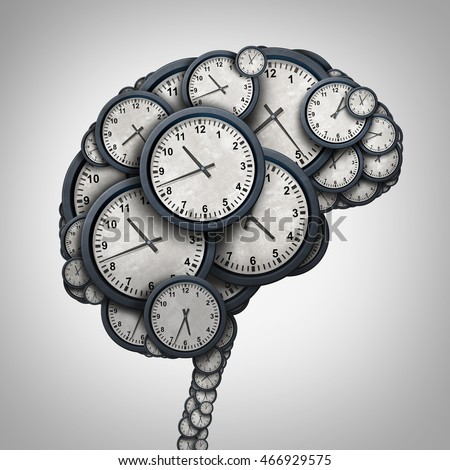 Time brain thinking concept as a group of clock objects shaped as a human mind as a business punctuality and appointment stress metaphor or deadline pressure and overtime icon as a 3D illustration.