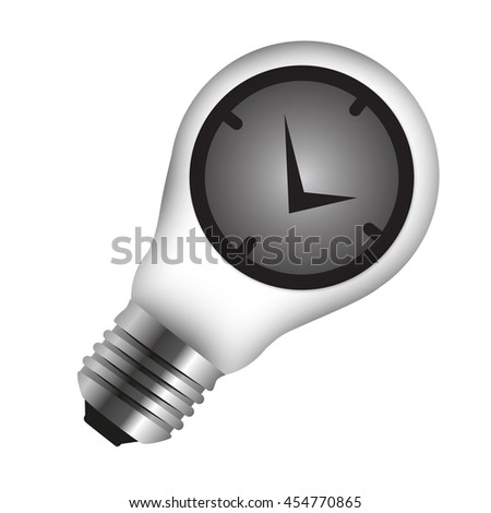 Time Clock Icon Inside Light Bulb Isolated on White Background - stock photo