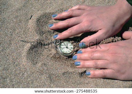 time clock.vacation time - stock photo