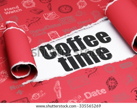 Time concept: black text Coffee Time under the curled piece of Red torn paper with  Hand Drawing Time Icons - stock photo