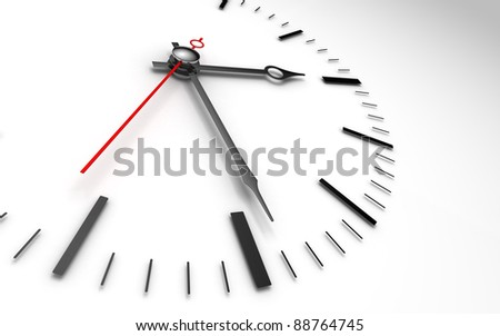 time concept clock closeup on white background showing three and a half hour - stock photo