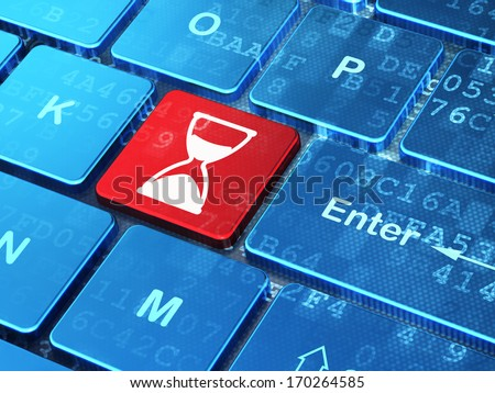 Time concept: computer keyboard with Hourglass icon on enter button background, 3d render - stock photo
