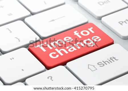 Time concept: computer keyboard with word Time for Change, selected focus on enter button background, 3D rendering - stock photo