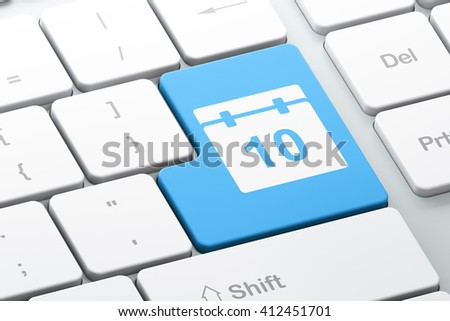 Time concept: Enter button with Calendar on computer keyboard background, 3D rendering