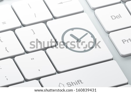 Time concept: Enter button with Clock on computer keyboard background, 3d render - stock photo