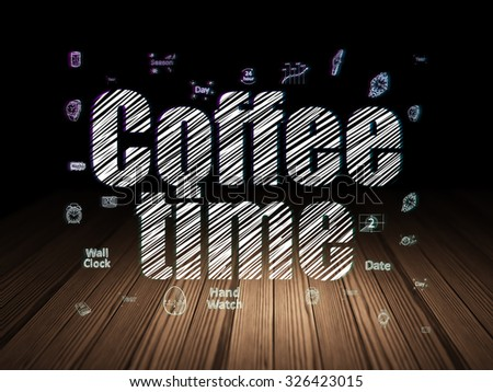Time concept: Glowing text Coffee Time,  Hand Drawing Time Icons in grunge dark room with Wooden Floor, black background - stock photo