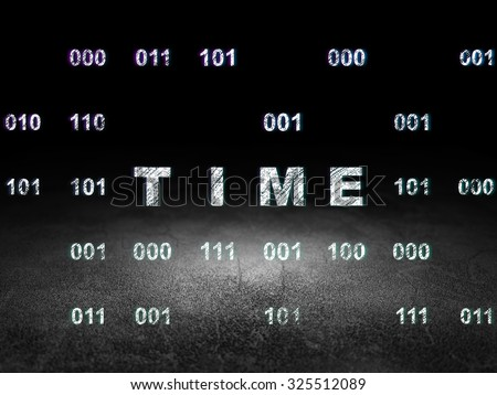 Time concept: Glowing text Time in grunge dark room with Dirty Floor, black background with Binary Code - stock photo