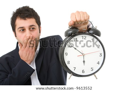 time concept in business with an old alarm clock and businessman